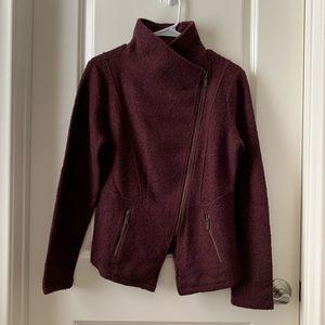 Halogen burgundy maroon asymmetric jacket